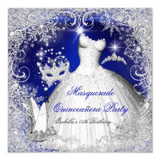 Quinceanera Masquerade Royal Blue White Snowflakes Card