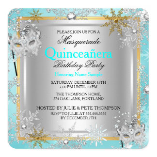Quinceanera Masquerade Teal Gold Snowflakes Silver Card