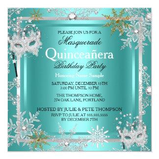 Quinceanera Masquerade Teal Snowflakes Silver 2 Card