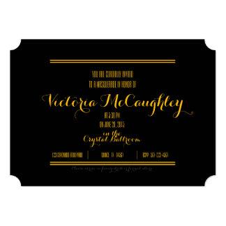 """quinceañera MASQUERADE TICKET invitation GOLD 5"""" X 7"""" Invitation Card"""