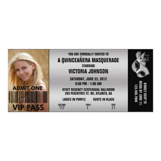 quinceañera masquerade vip admission ticket invitation zazzle com