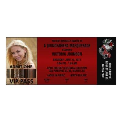 quinceañera masquerade vip admission ticket invitation zazzle com