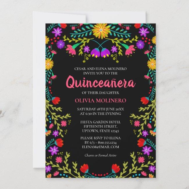 Quinceanera Mexican Fiesta Floral Black Birthday Invitation