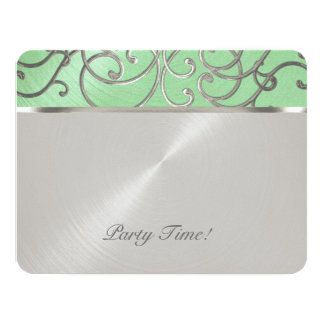 Quinceanera Mint Green and Silver Filigree Swirls Card