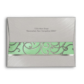 Quinceanera Mint Green and Silver Filigree Swirls Envelope