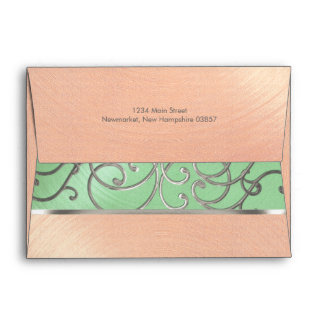Quinceanera Mint Green Peach Silver Filigree Swirl Envelope