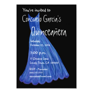 Quinceanera - Mis Quince Anos Blue Dress Template Card
