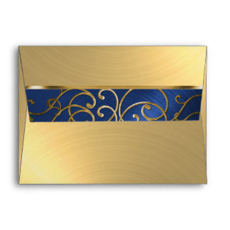 Quinceanera Navy Blue and Gold Filigree Swirls Envelope