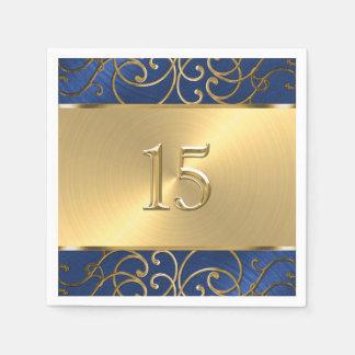 Quinceanera Navy Blue and Gold Filigree Swirls Paper Napkin