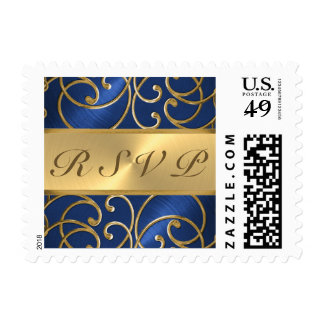 Quinceanera Navy Blue and Gold Filigree Swirls Postage Stamp