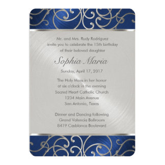 Quinceanera Navy Blue and Silver Filigree Swirls 5x7 Paper Invitation Card
