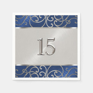Quinceanera Navy Blue and Silver Filigree Swirls Napkin