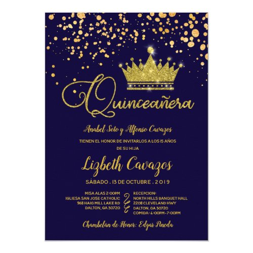 Quinceanera Navy Blue Gold Glamorous Spanish Invitation