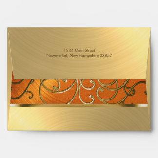 Quinceanera Orange and Gold Filigree Swirls Envelope