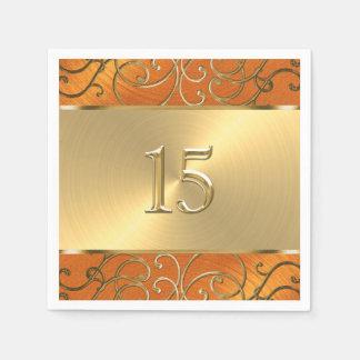 Quinceanera Orange and Gold Filigree Swirls Paper Napkin