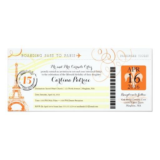 Quinceanera orange yellow paris boarding pass card zazzle for Paris orange card