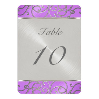 Quinceanera Orchid Purple Silver Filigree Swirls Card