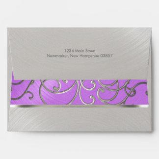 Quinceanera Orchid Purple Silver Filigree Swirls Envelope