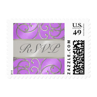 Quinceanera Orchid Purple Silver Filigree Swirls Postage Stamps