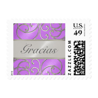 Quinceanera Orchid Purple Silver Filigree Swirls Stamps