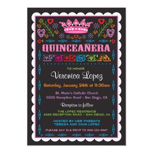 Quinceañera Papel Picado Fiesta Invitation | Zazzle
