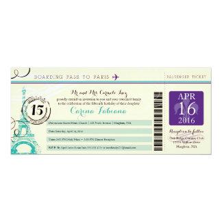 Quinceanera | Paris 4x9.25 Paper Invitation Card
