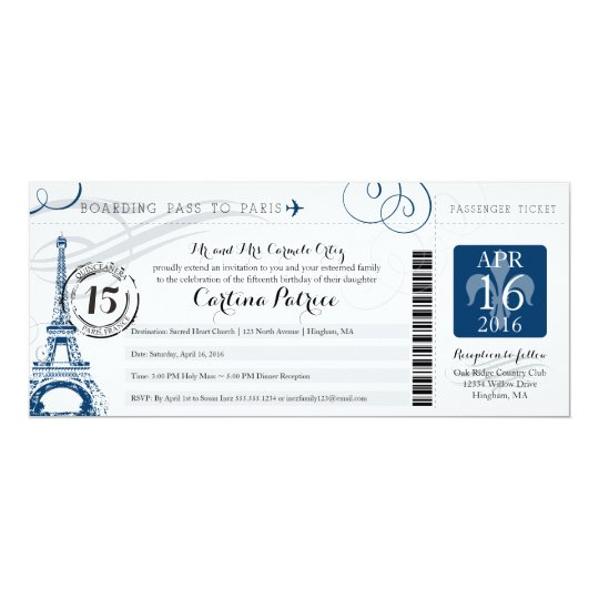Quinceanera Paris Boarding Pass Invitation Zazzle Com