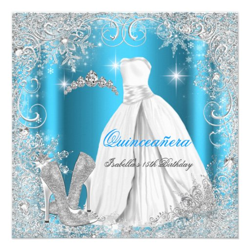 Quinceanera Party Blue Silver Winter Snowflakes Invite