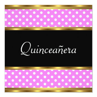 Quinceañera Party Gold Pink Polka dots Announcement