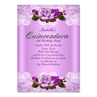Quinceanera Party Lilac Purple Pink Roses Lace Card