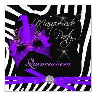 Quinceanera Party Masquerade Purple Zebra Invitation