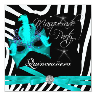 Quinceanera Party Masquerade Teal Zebra Card