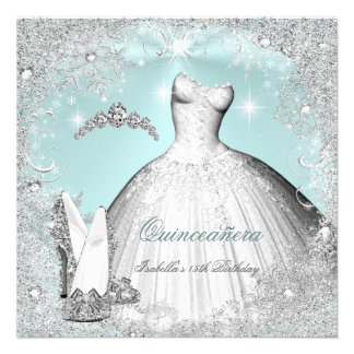 Quinceanera Party Mint Blue Silver Snowflakes Personalized Announcement