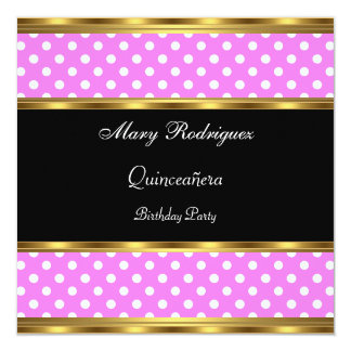 Quinceañera Party Pink Polka dots 5.25x5.25 Square Paper Invitation Card