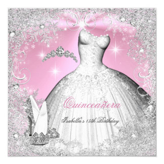 Quinceanera Party Pink Silver Winter Snowflakes Card