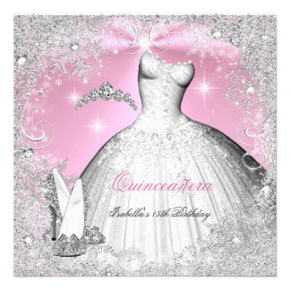 Quinceanera Party Pink Silver Winter Snowflakes Invites