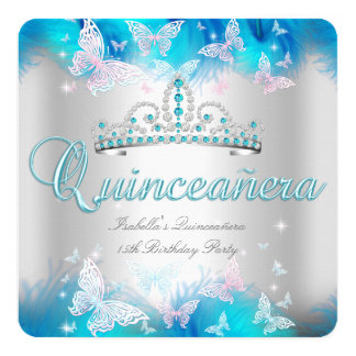 Quinceanera Party Pink Teal Blue Tiara Butterfly Card