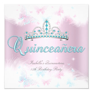 Quinceanera Party Pink Teal Tiara Butterfly 2 Card