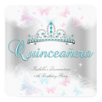 Quinceanera Party Pink Teal White Tiara Butterfly Card