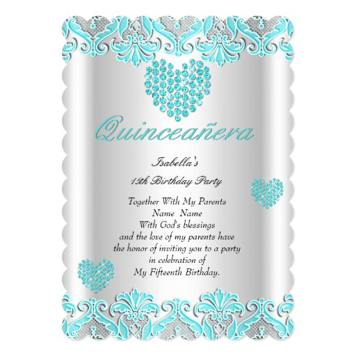 Quinceanera Party Pretty Teal Blue Hearts Lace Card