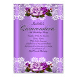 "Quinceanera Party Purple Pink Roses White Lace 5"" X 7"" Invitation Card"