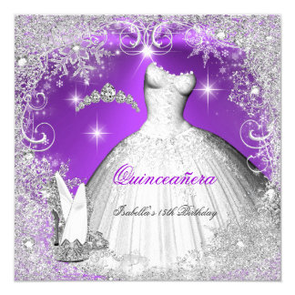 Quinceanera Party Purple Silver Winter Snowflakes Card