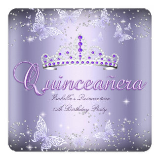 Quinceanera Party Purple Tiara Butterfly 2 Card