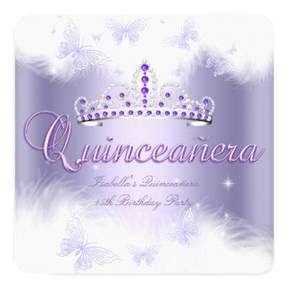 Quinceanera Party Purple Tiara Butterfly Card
