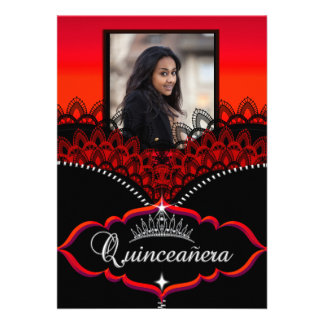 Quinceanera Party Red Black Lace Girl Photo Announcements