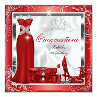 Quinceanera Party Red Silver Dress Heels S5 Card