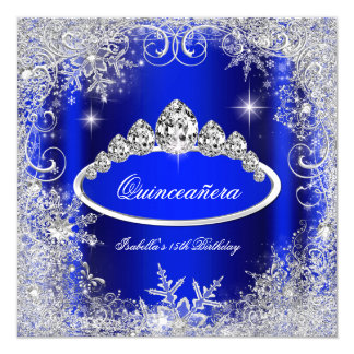 Quinceanera Party Royal Blue Silver Snowflakes 5.25x5.25 Square Paper Invitation Card