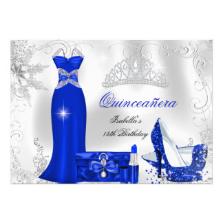 Quinceanera Party Royal Blue Silver Snowflakes Personalized Invitations