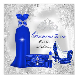 Quinceanera Party Royal Blue Silver Snowflakes S Card
