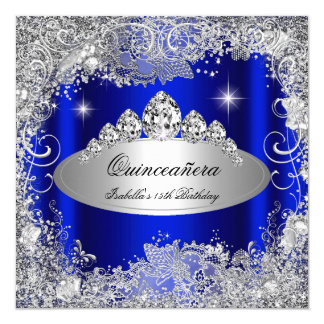 Quinceanera Party Royal Blue Silver Tiara Card